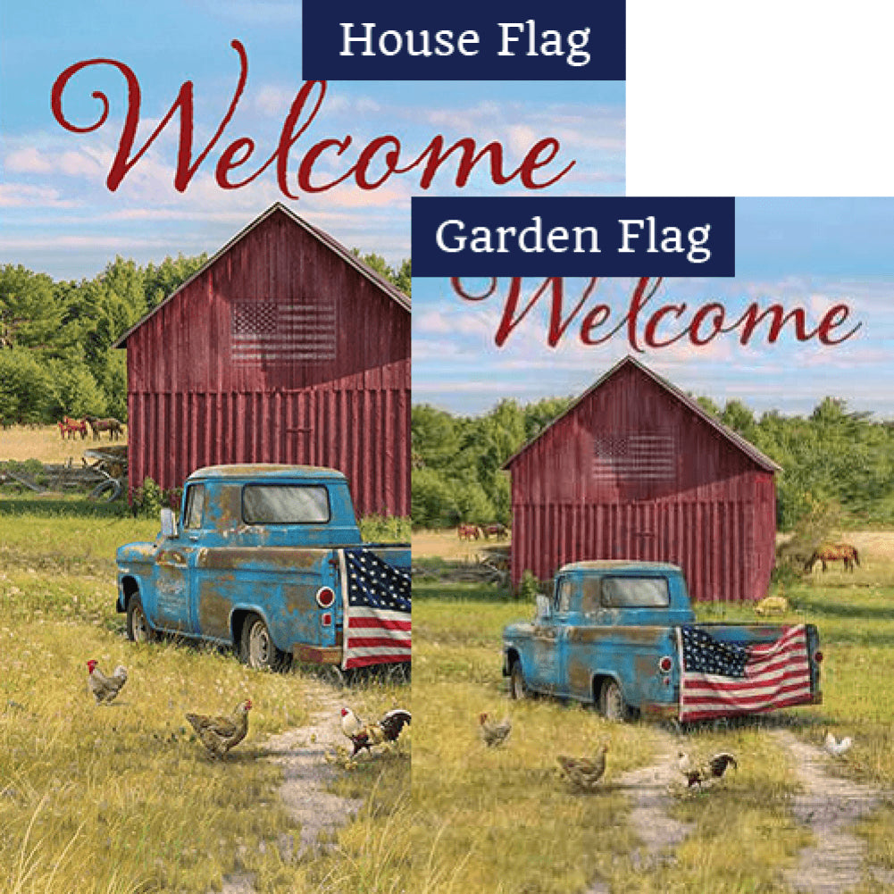 Summer Truck American Double Sided Flags Set (2 Pieces)