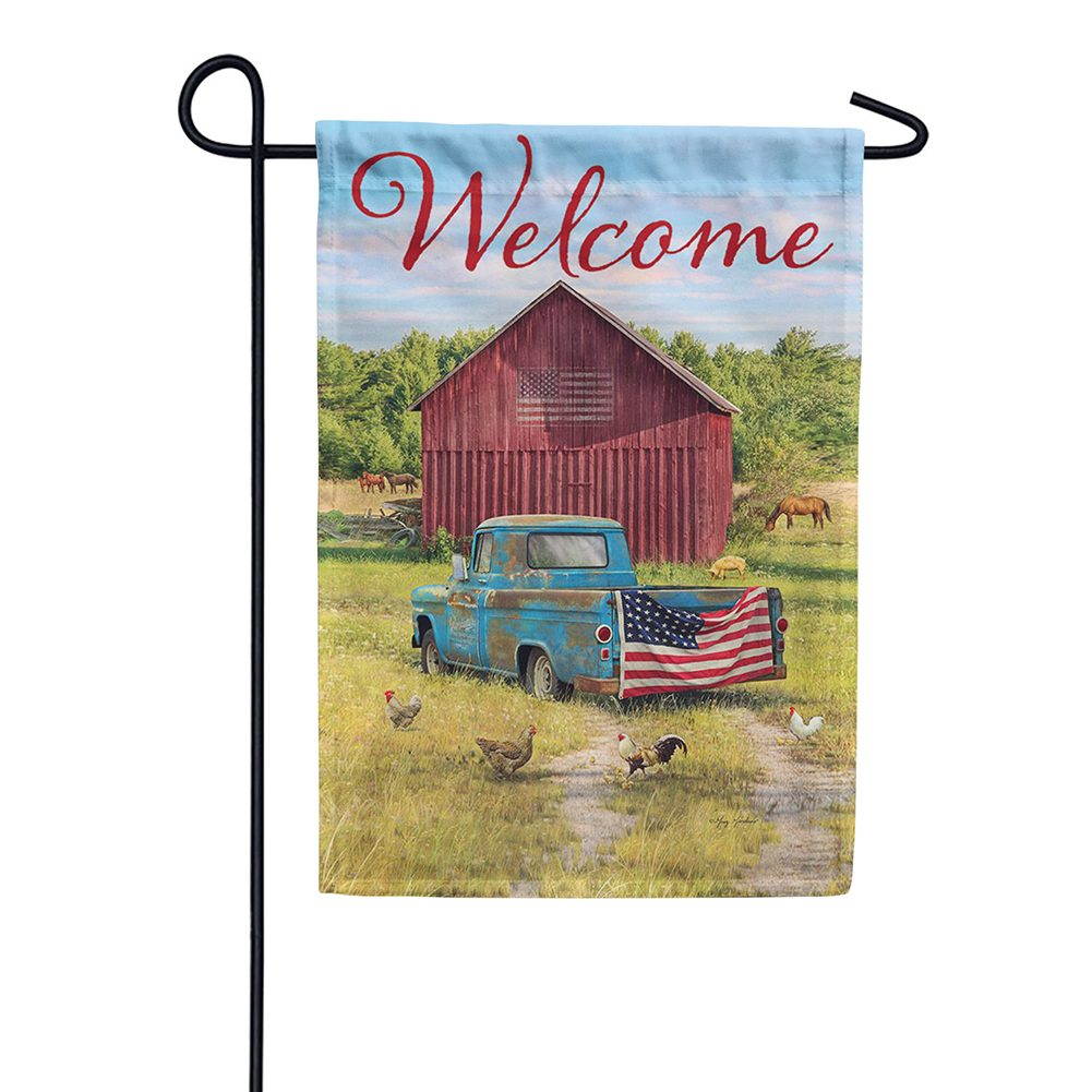 Summer Truck American Double Sided Garden Flag