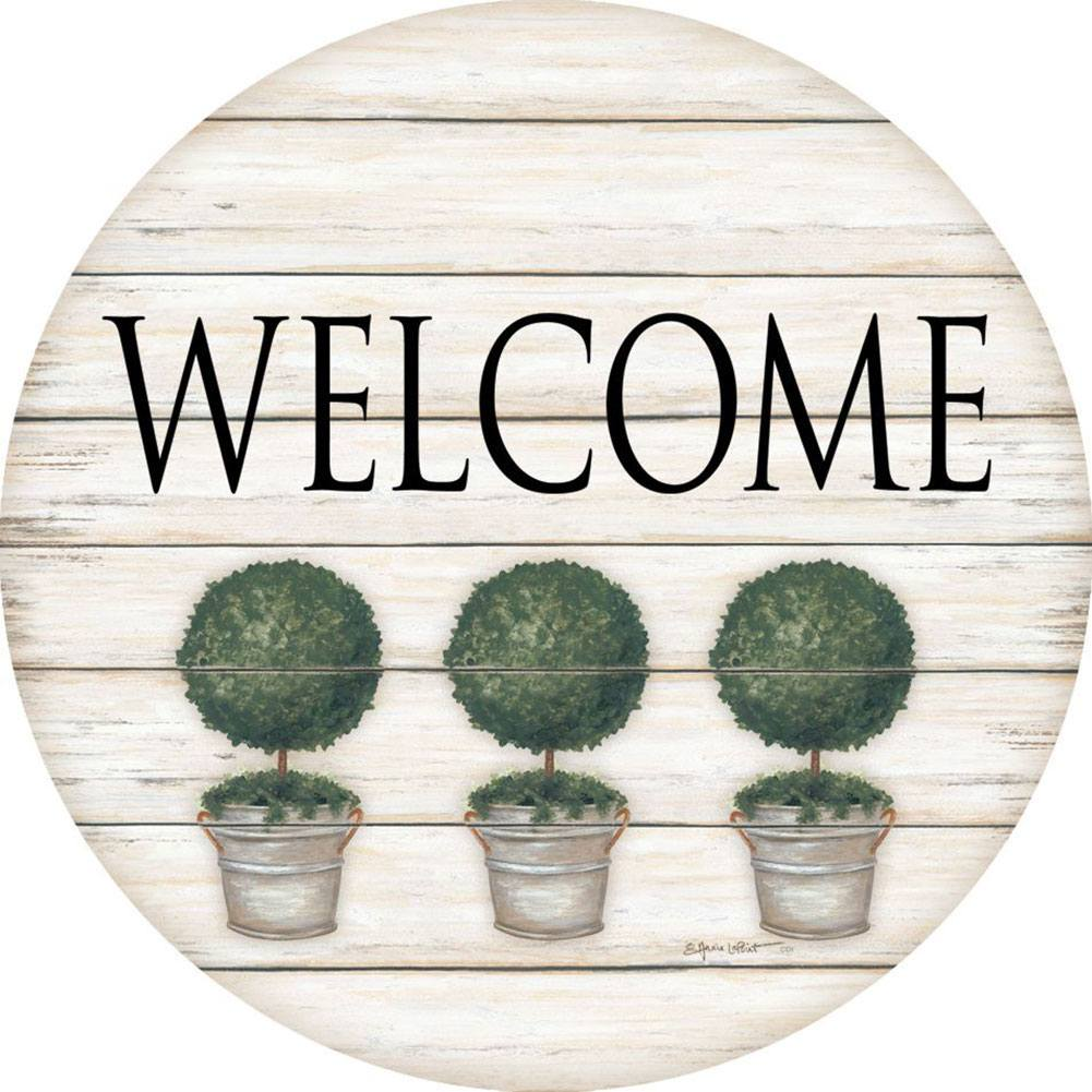 Welcome Topiary Accent Magnet