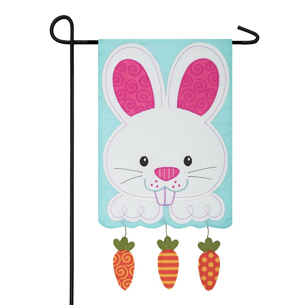 Bunny And Carrots Appliqued Double Sided Garden Flag