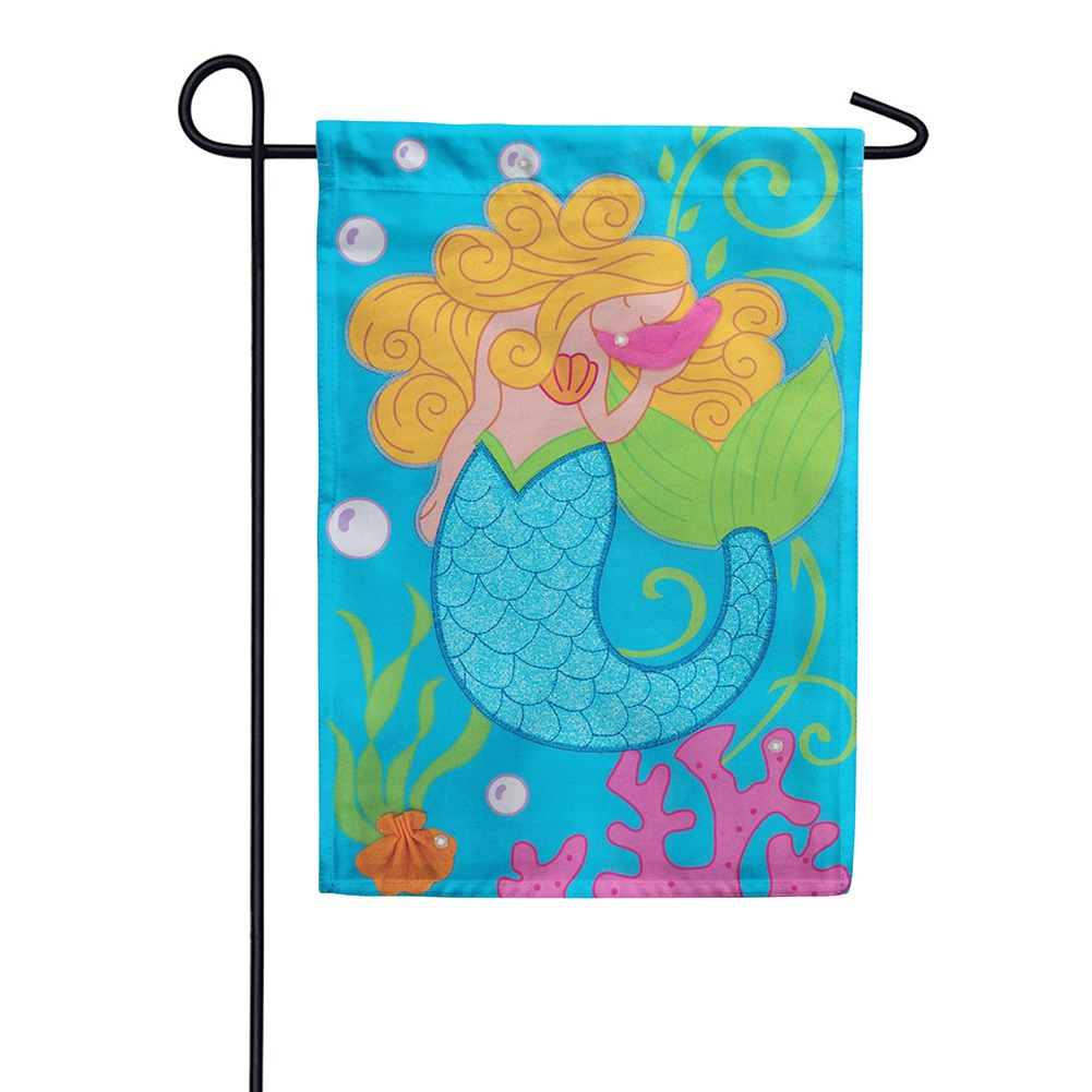 Mermaid Glitter Appliqued Double Sided Garden Flag