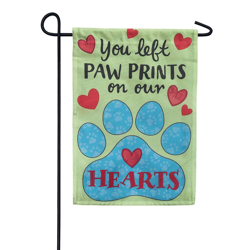 Paw Prints Appliqued Double Sided Garden Flag