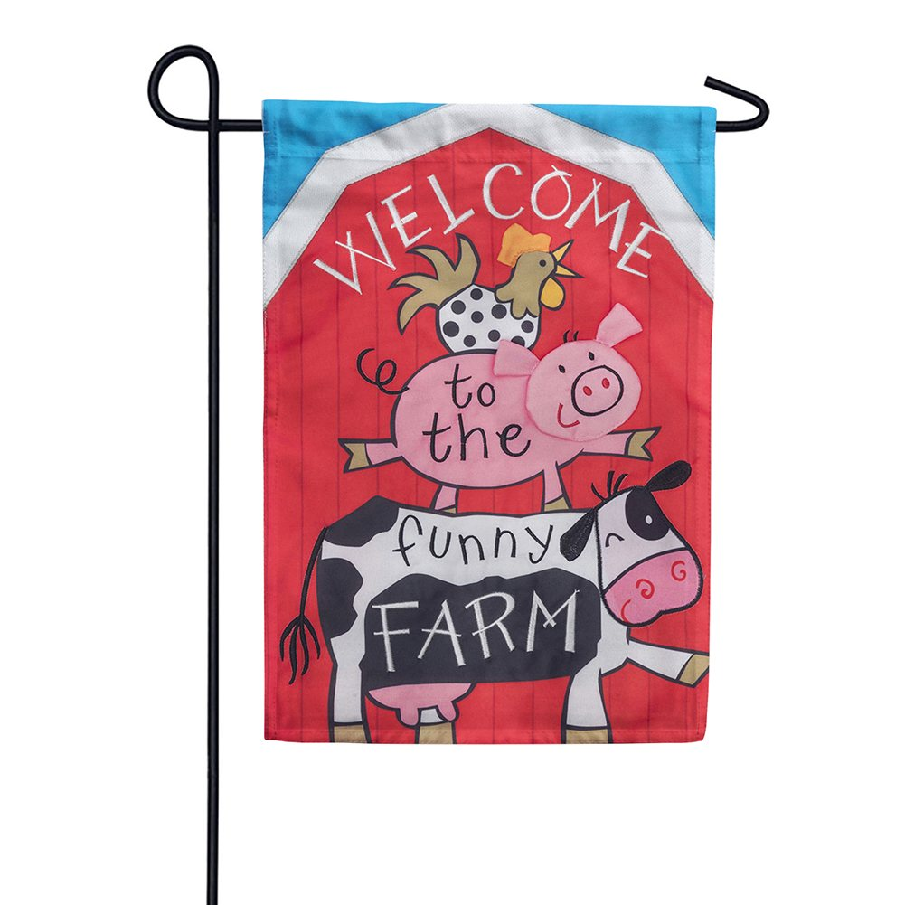 Funny Farm Appliqued Double Sided Garden Flag