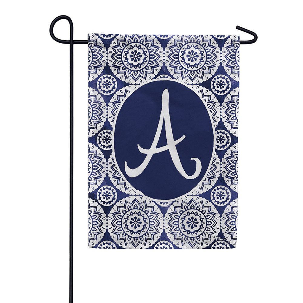 Indigo Boho Monogram Double Sided Garden Flag