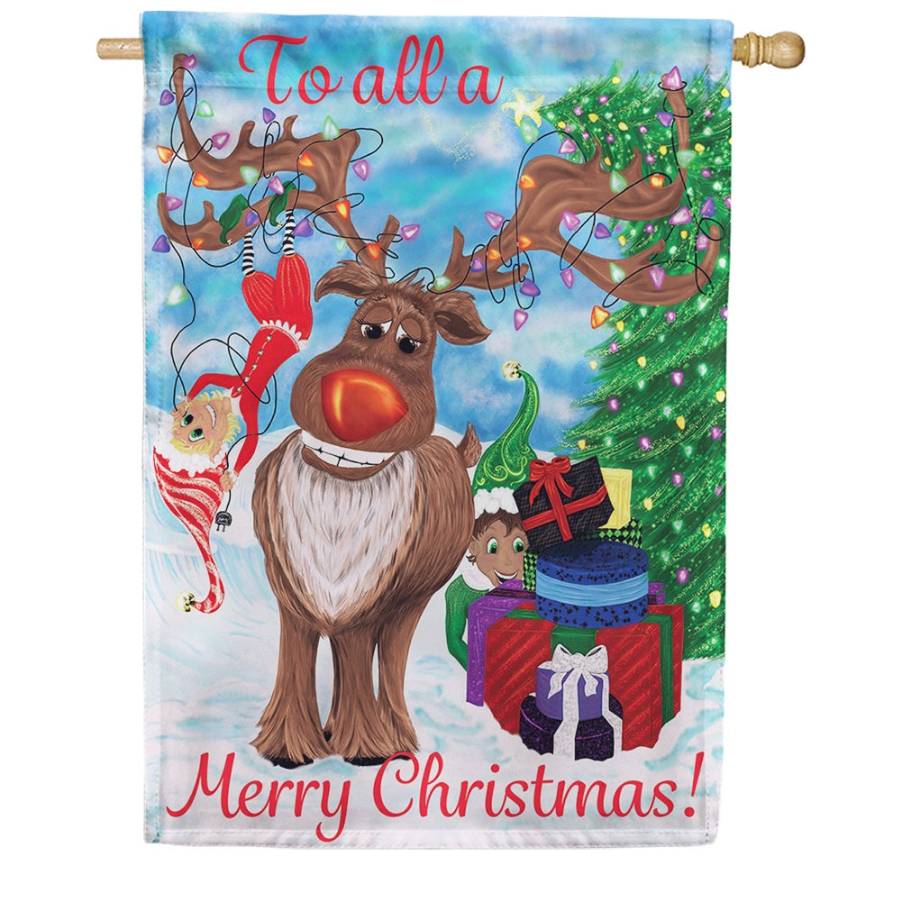 Elves & Reindeer Double Sided House Flag