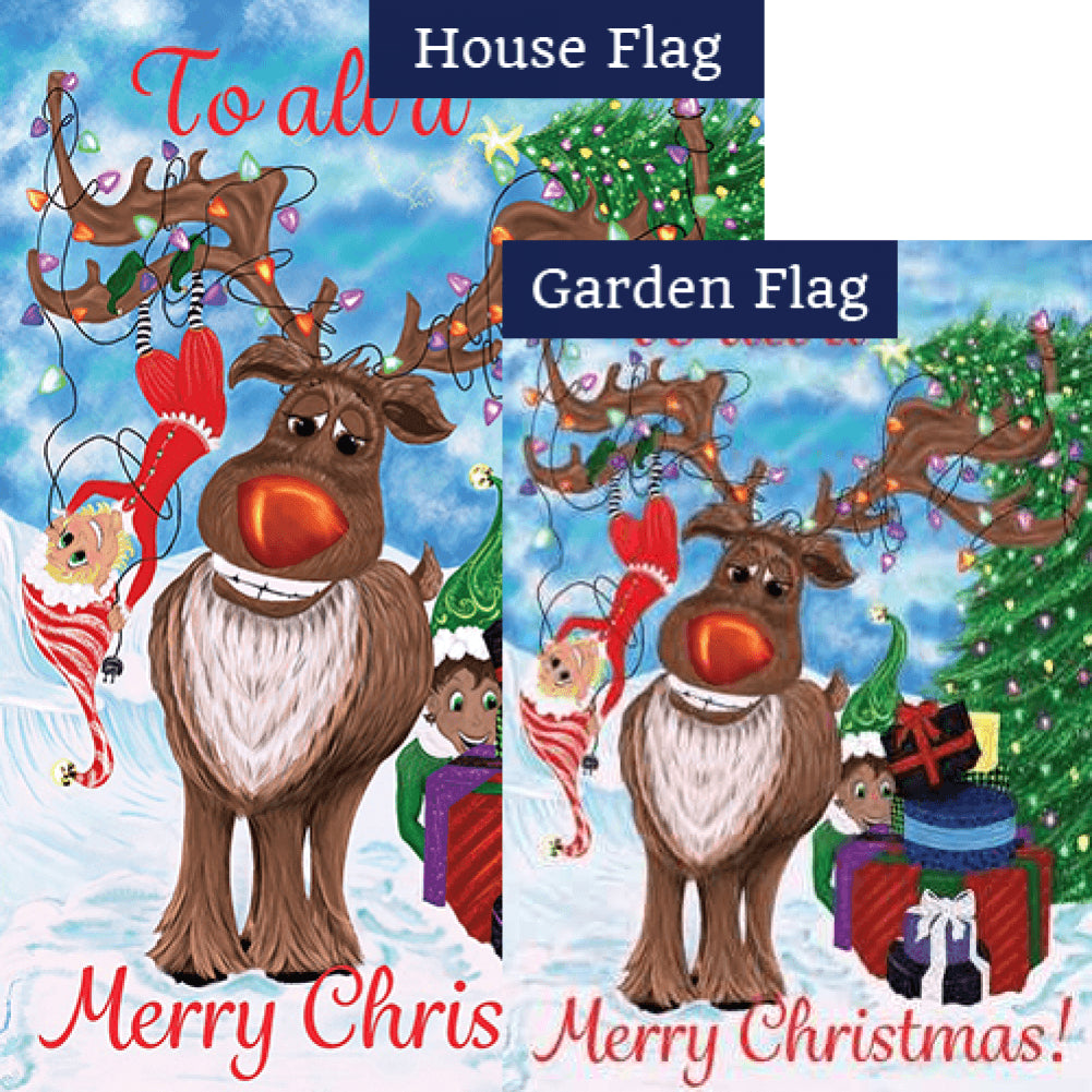 Elves & Reindeer Double Sided Flags Set (2 Pieces)
