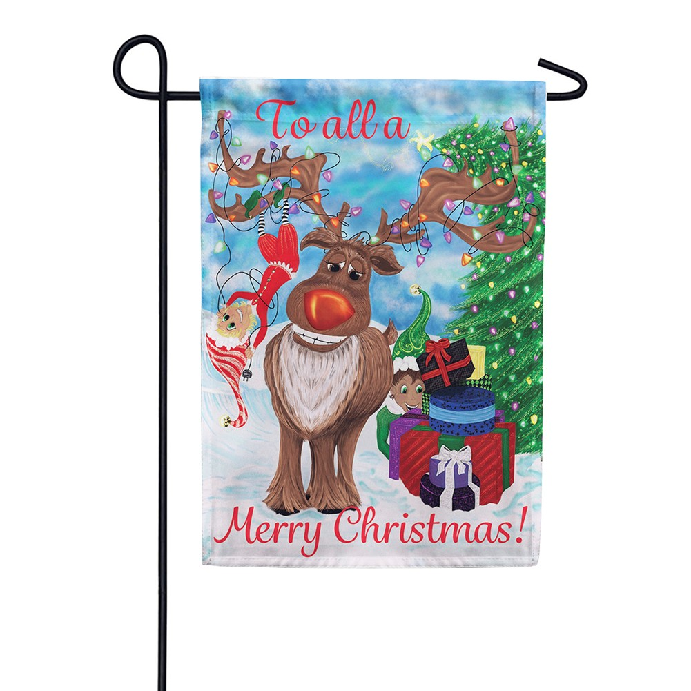 Elves & Reindeer Double Sided Garden Flag