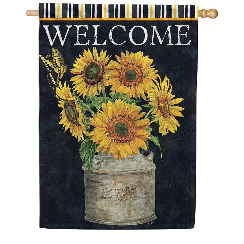 Sunflower Stripes Double Sided House Flag