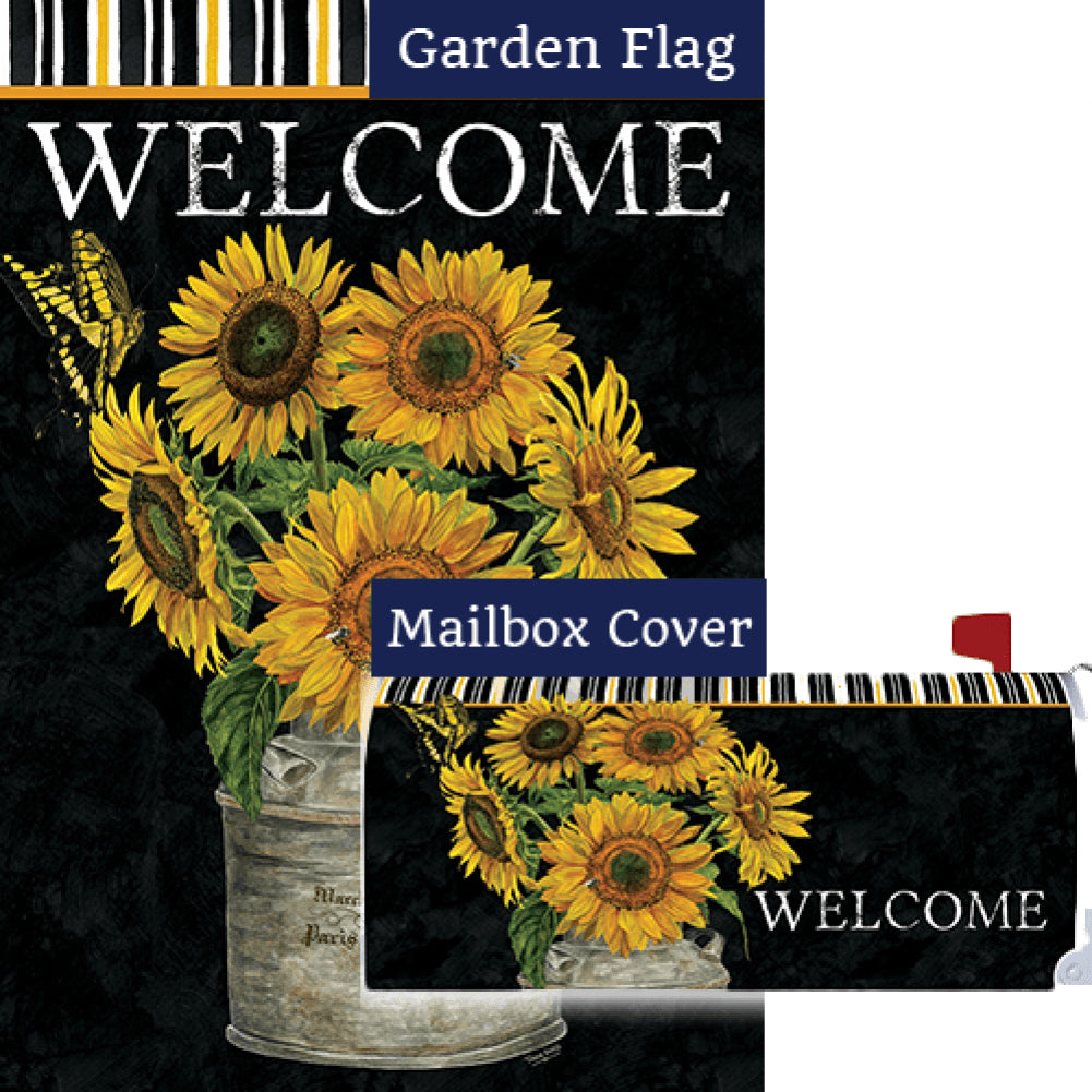 Sunflower Stripes Double Sided Flag Mailwrap Set (2 Pieces)