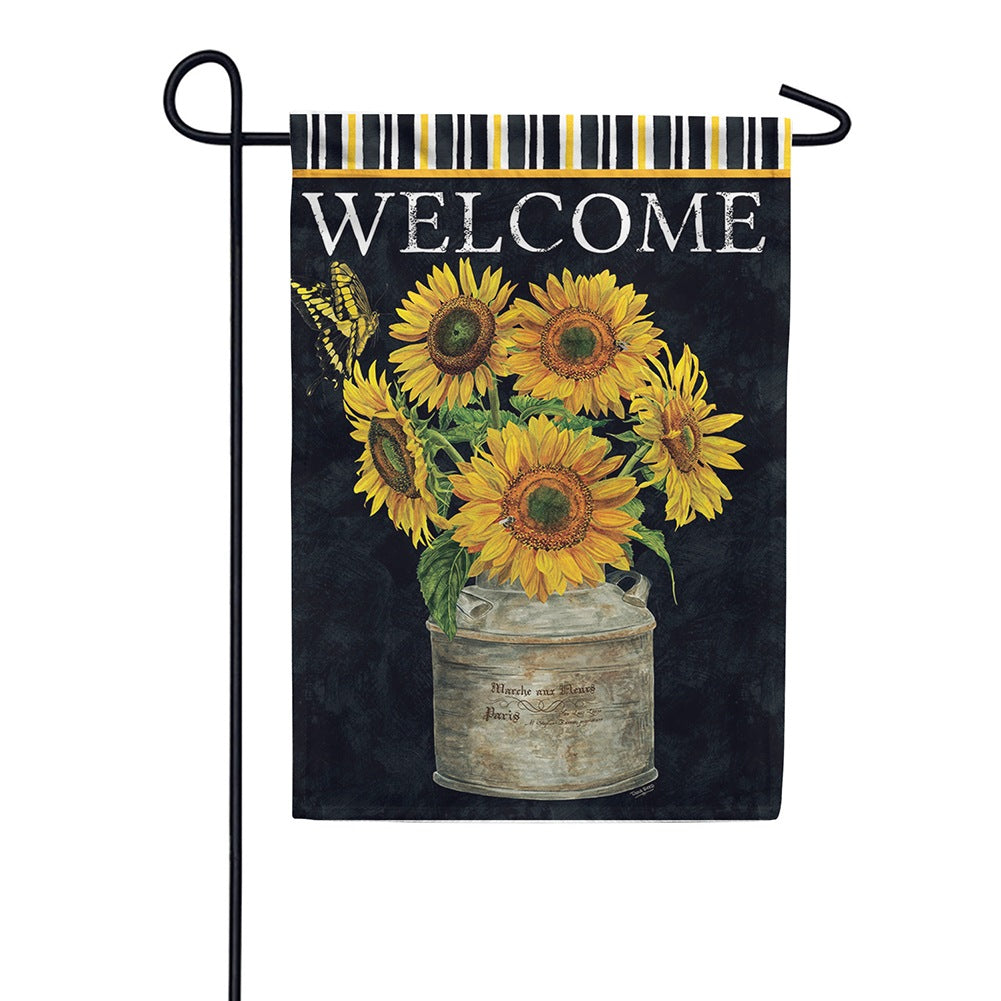Sunflower Stripes Double Sided Garden Flag