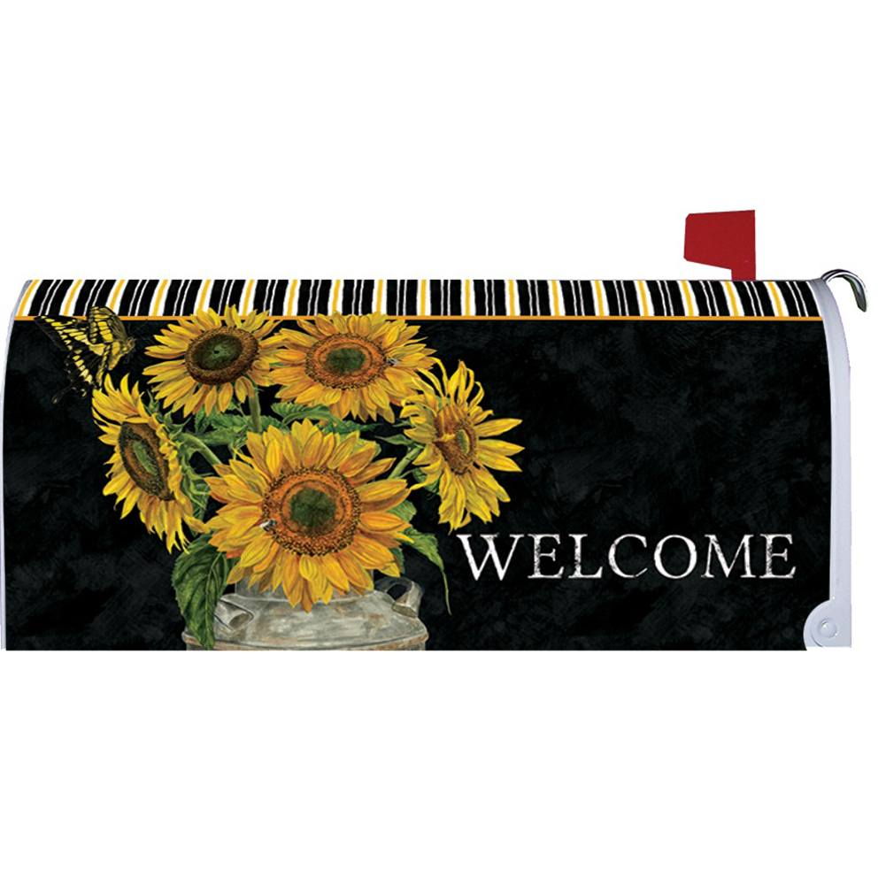 Sunflower Stripes Mailbox Cover
