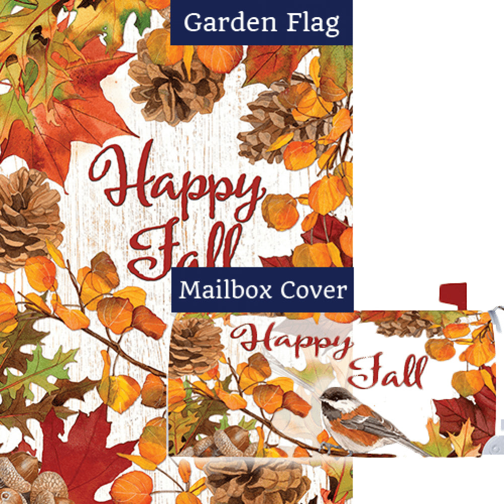 Leaves & Pinecones Double Sided Flag Mailwrap Set (2 Pieces)
