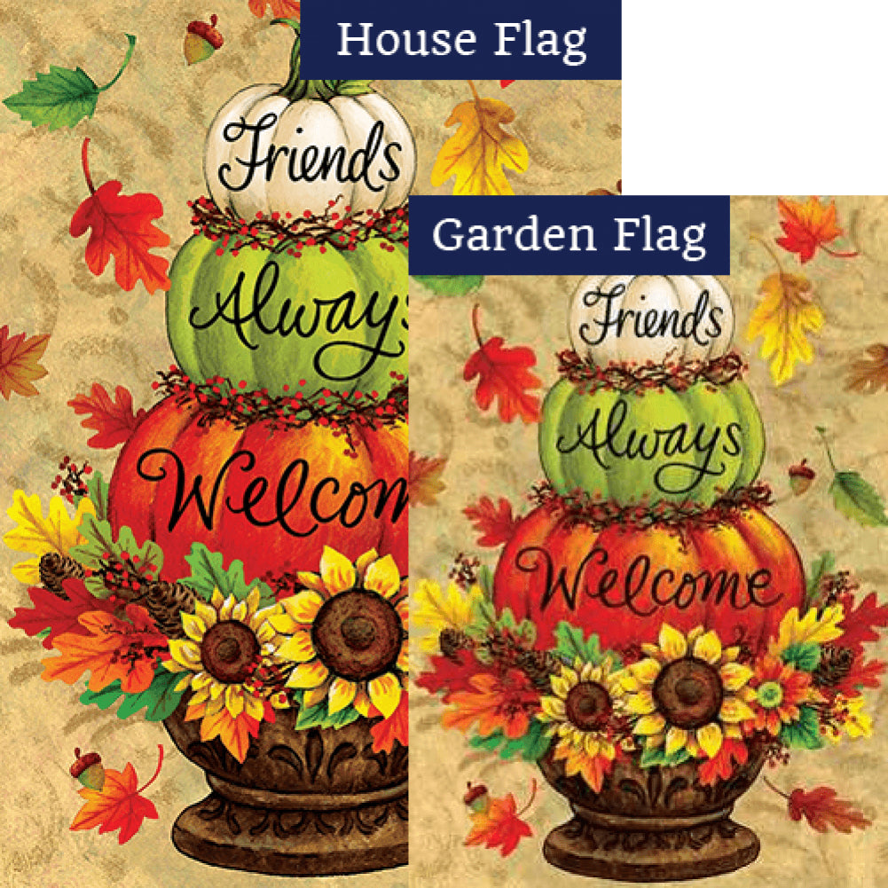 Pumpkin Topiary Double Sided Flags Set (2 Pieces)
