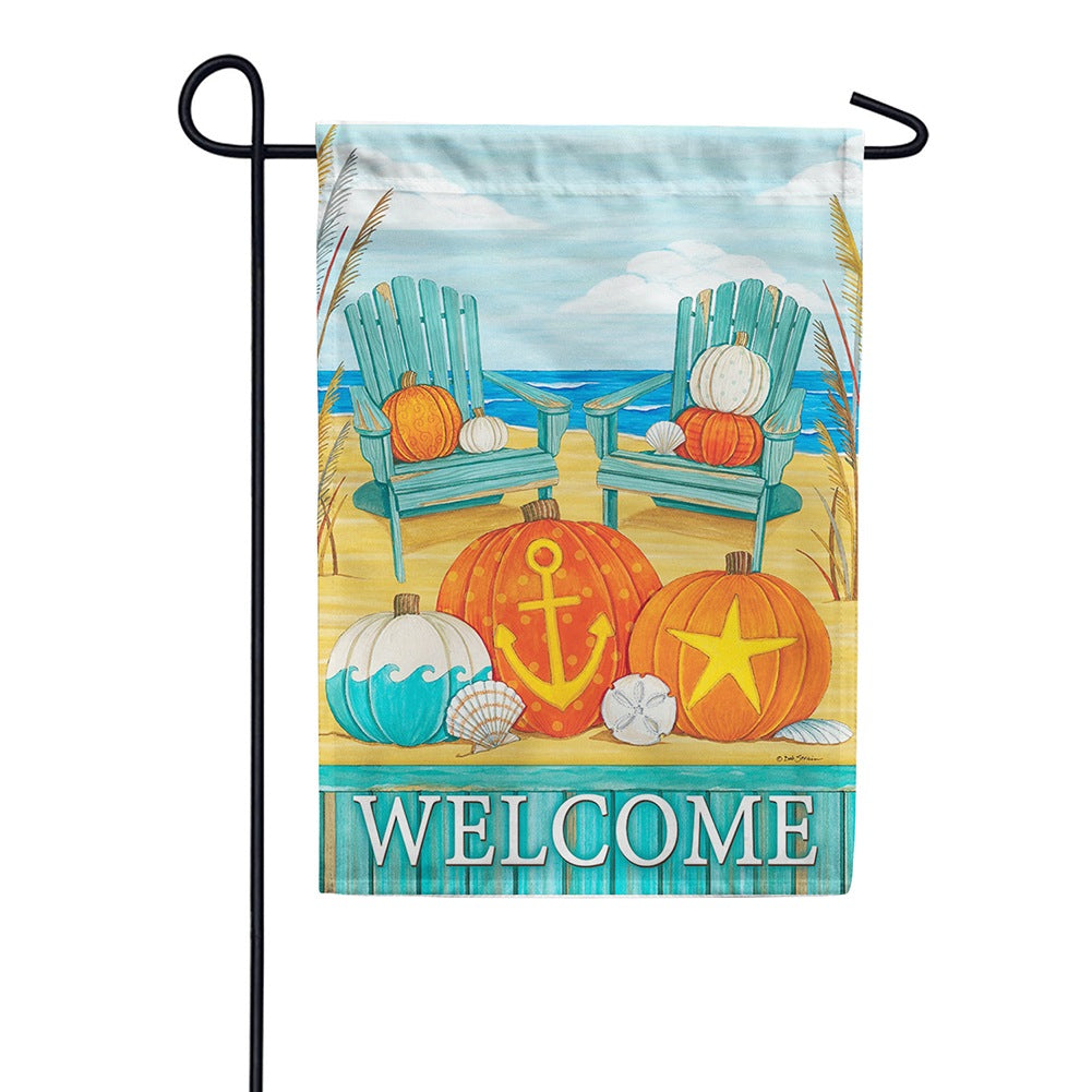 Beach Pumpkins Welcome Garden Flag