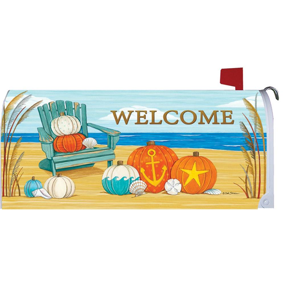 Beach Pumpkins Welcome Mailbox Cover