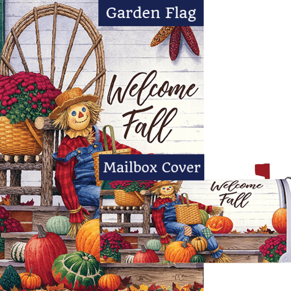 Scarecrow Porch Double Sided Flag Mailwrap Set (2 Pieces)