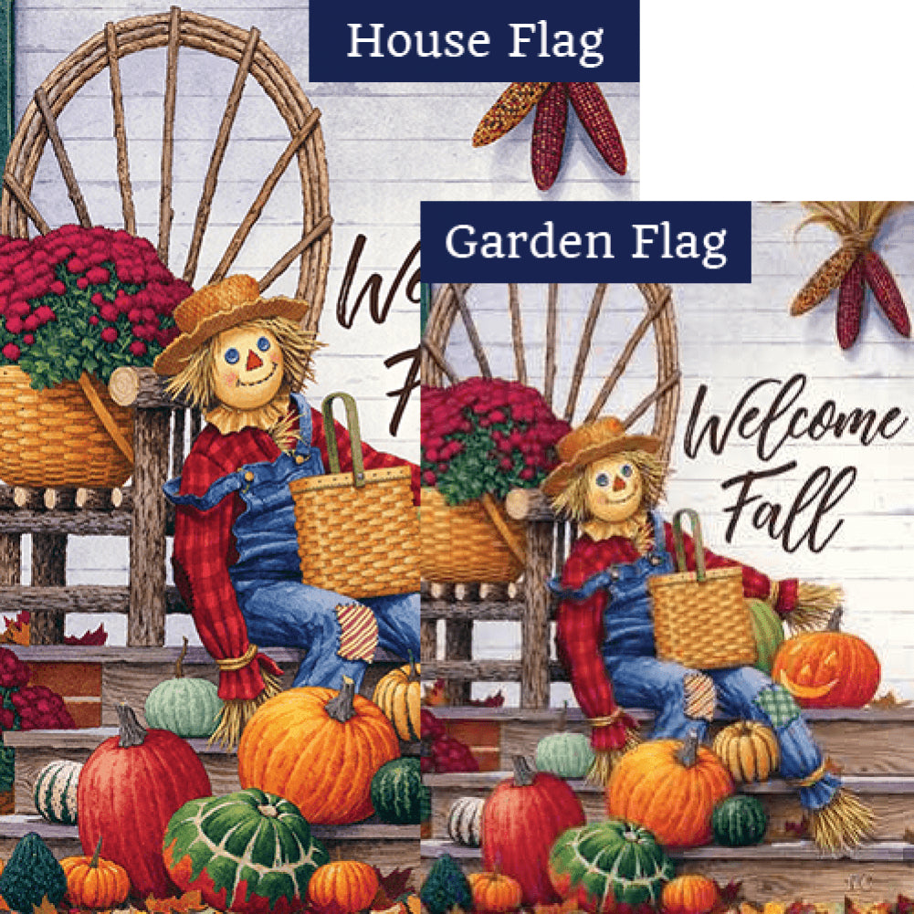 Scarecrow Porch Double Sided Flags Set (2 Pieces)