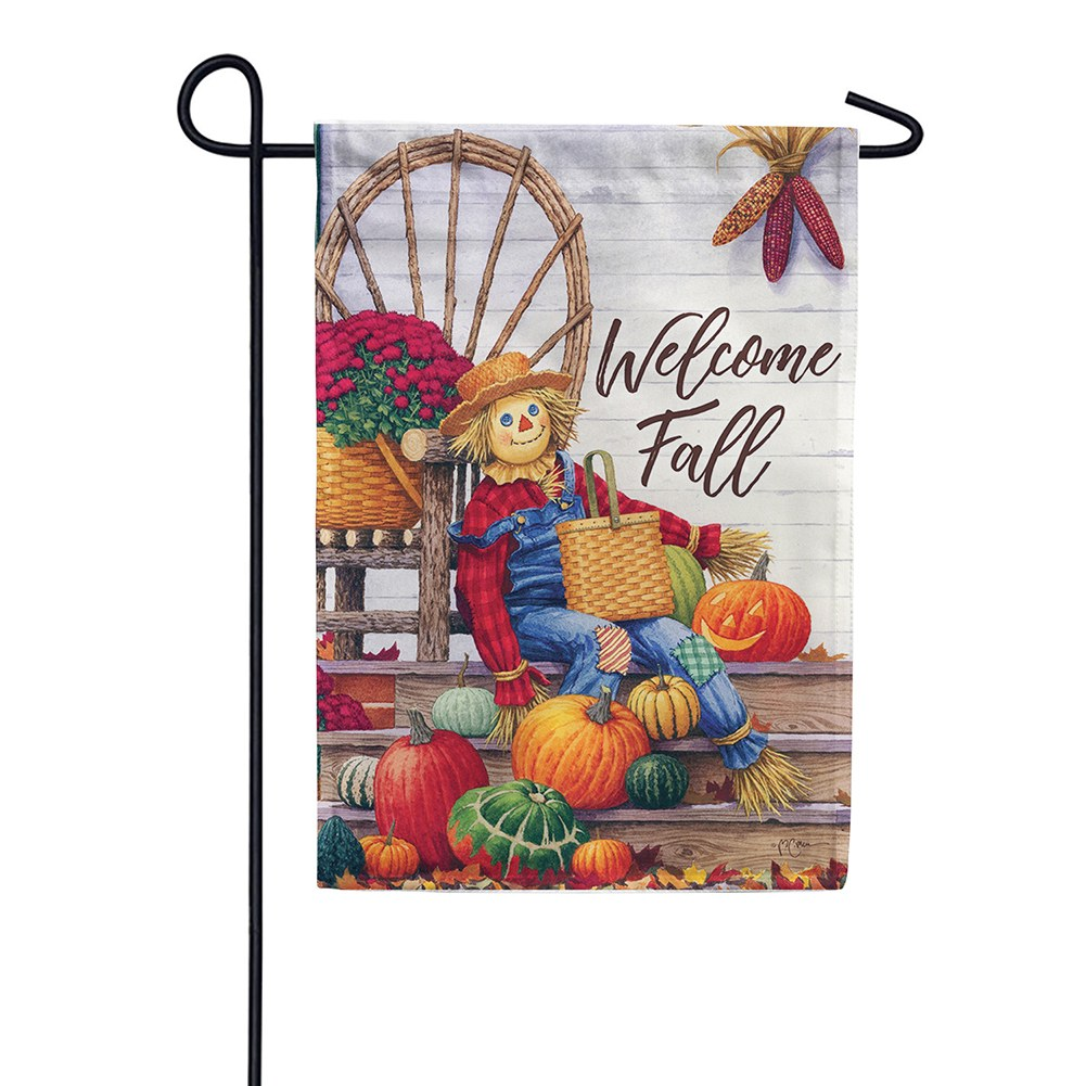 Scarecrow Porch Double Sided Garden Flag