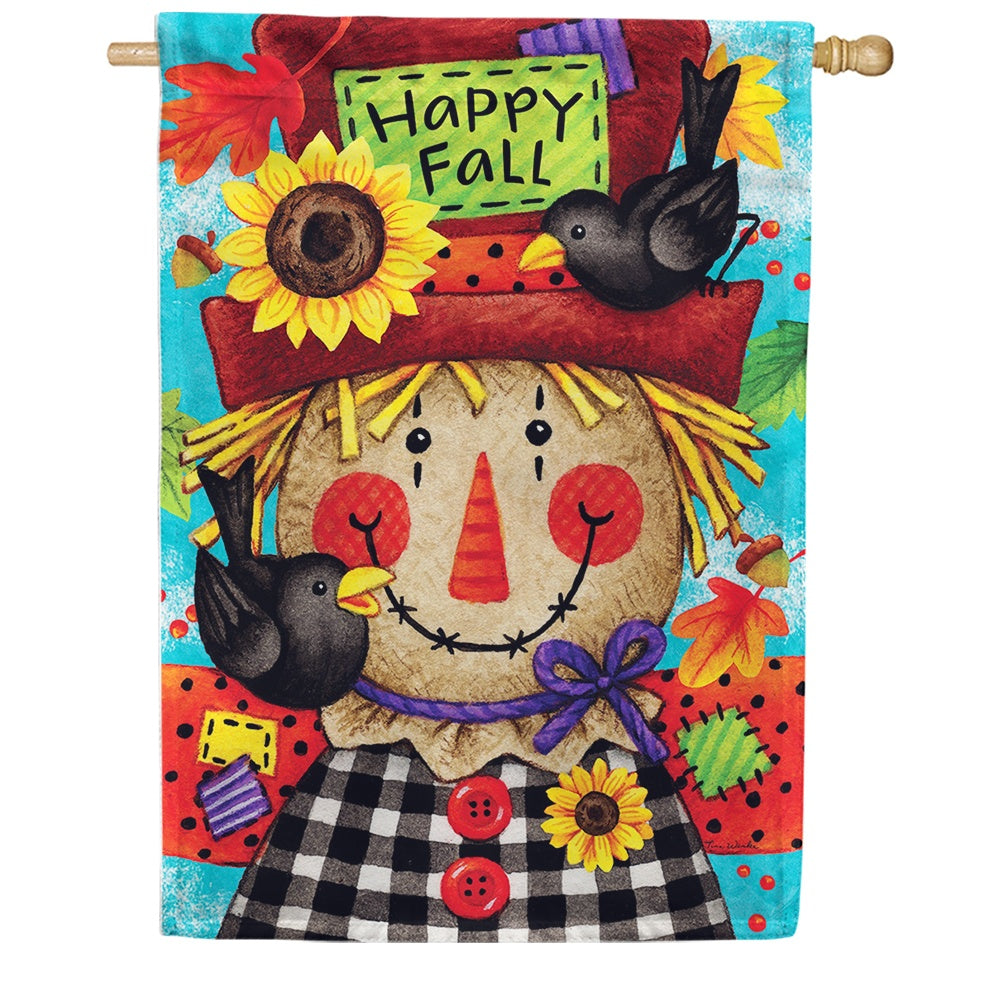 Happy Scarecrow Fall Double Sided House Flag