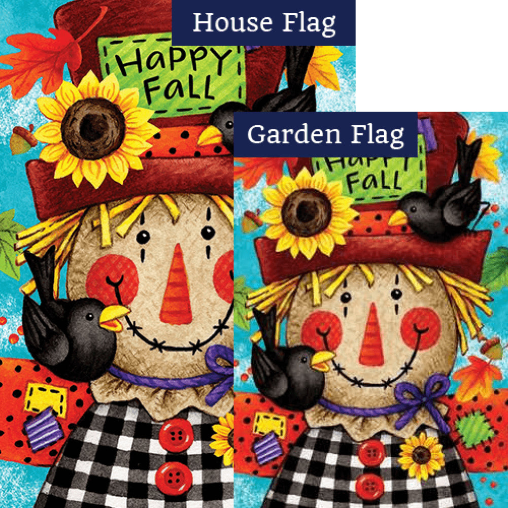 Custom Decor Happy Scarecrow Fall Double Sided Flags Set 2 Pieces F Flagsrus Org