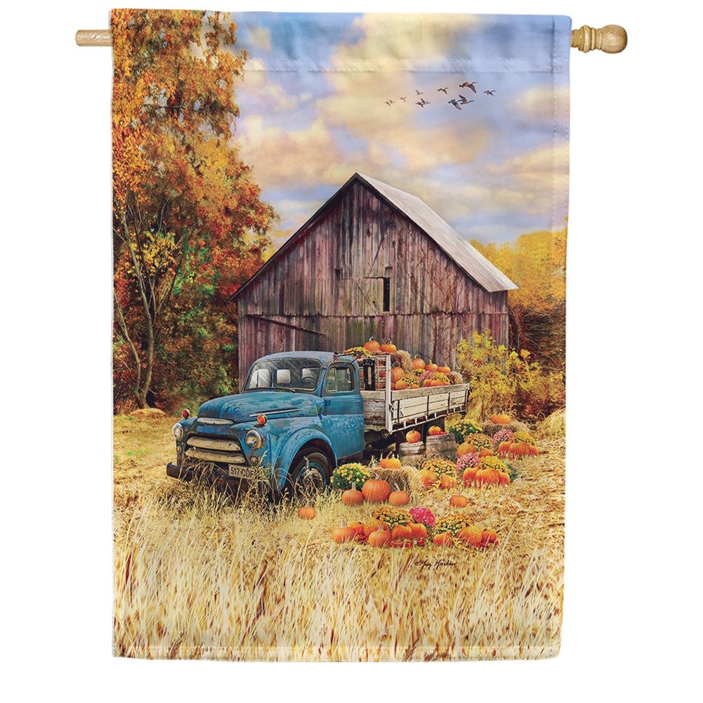 Pumpkin Truck Farm House Flag