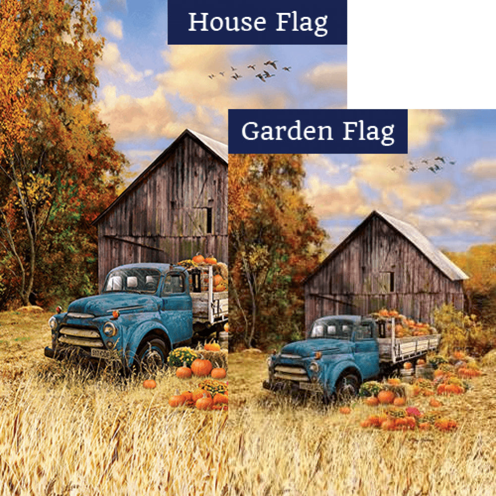 Pumpkin Truck Farm Flags Set (2 Pieces)