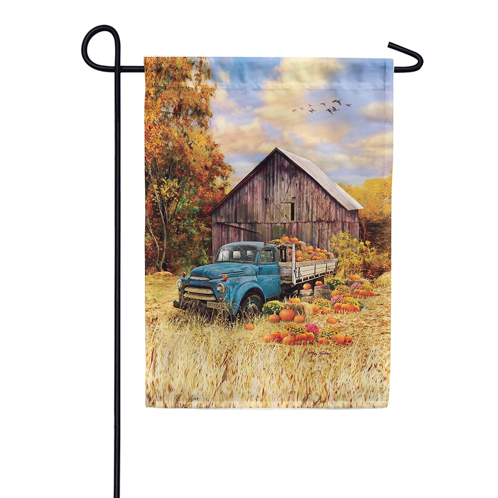 Pumpkin Truck Farm Garden Flag