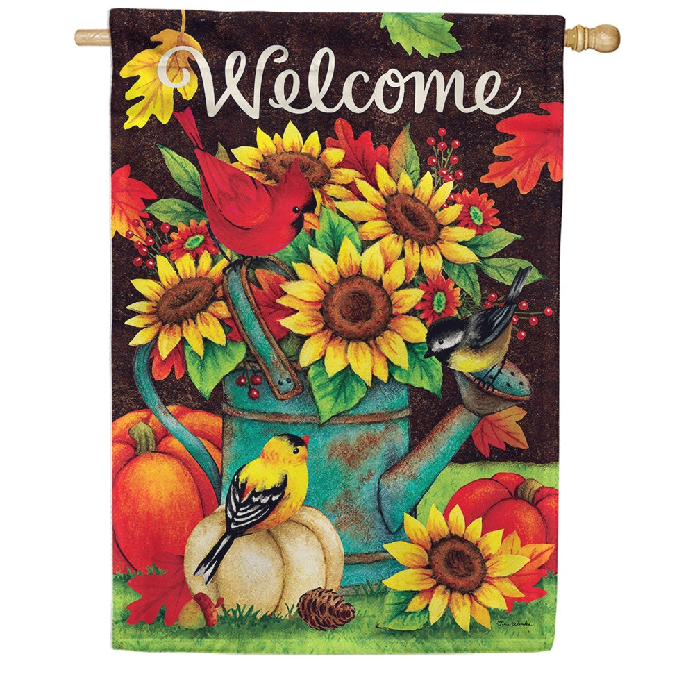 Sunflowers & Birds Double Sided House Flag