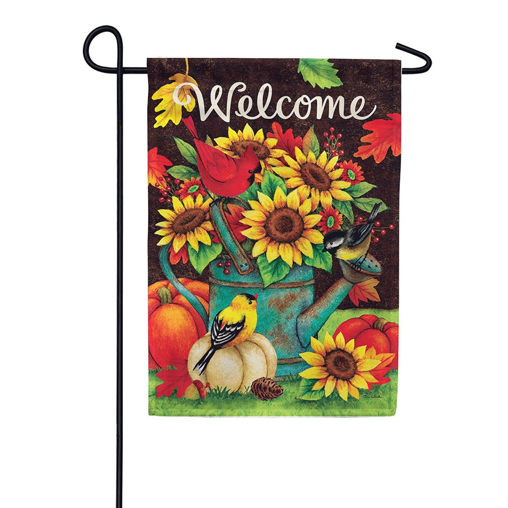 Sunflowers & Birds Double Sided Garden Flag