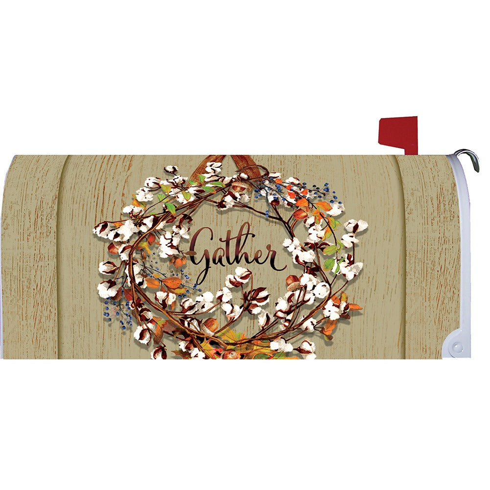 Cotton Wreath Mailbox Cover
