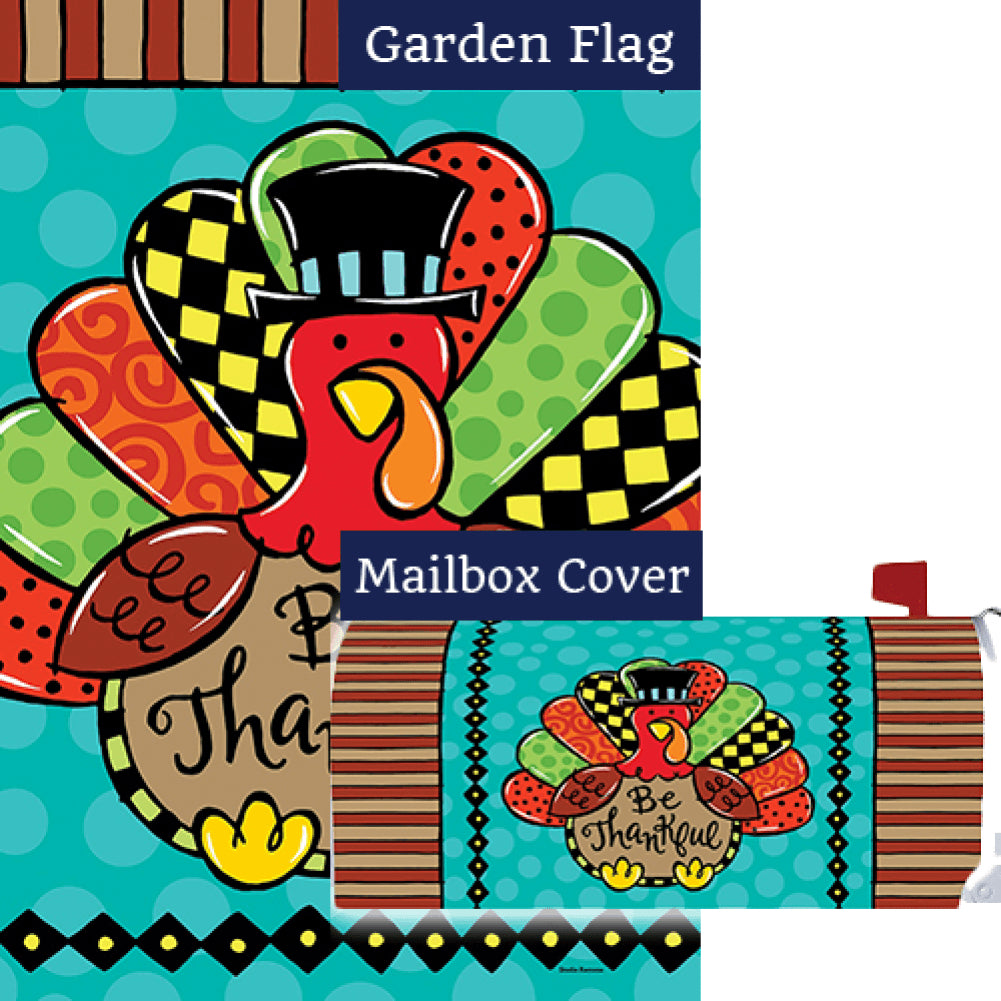 Whimsy Turkey Double Sided Flag Mailwrap Set (2 Pieces)