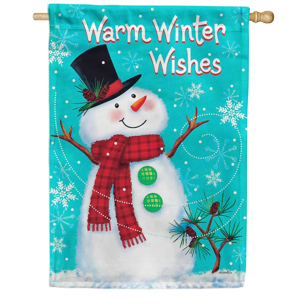 Winter Snowman Double Sided House Flag