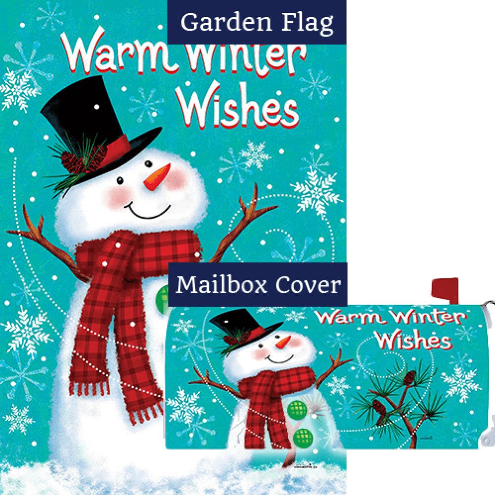 Winter Snowman Double Sided Flag Mailwrap Set (2 Pieces)