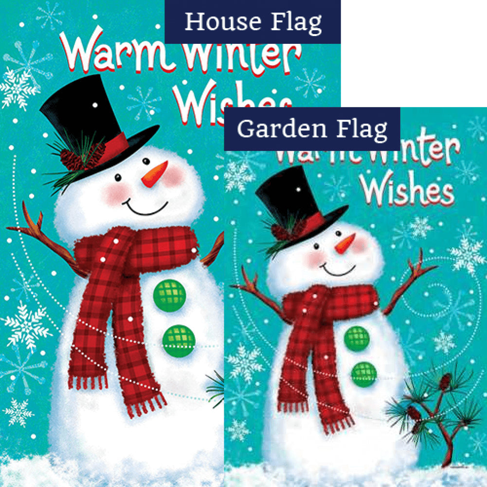 Winter Snowman Double Sided Flags Set (2 Pieces)