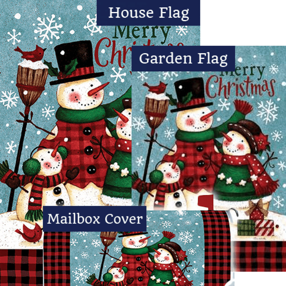 Snow Family Christmas Double Sided Yard Makeover Set (3 Pieces)