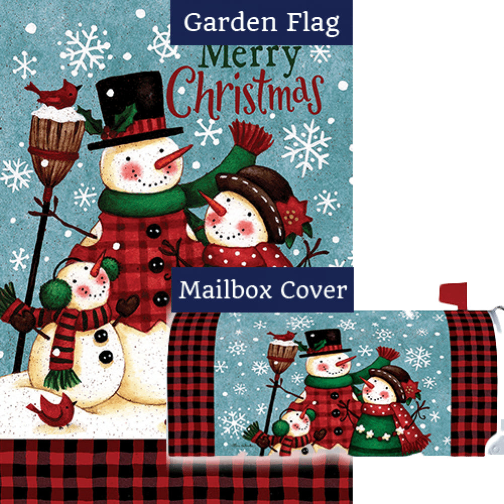 Snow Family Christmas Double Sided Flag Mailwrap Set (2 Pieces)
