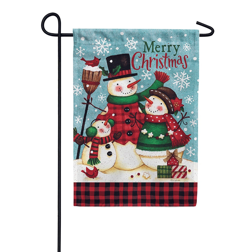 Snow Family Christmas Double Sided Garden Flag