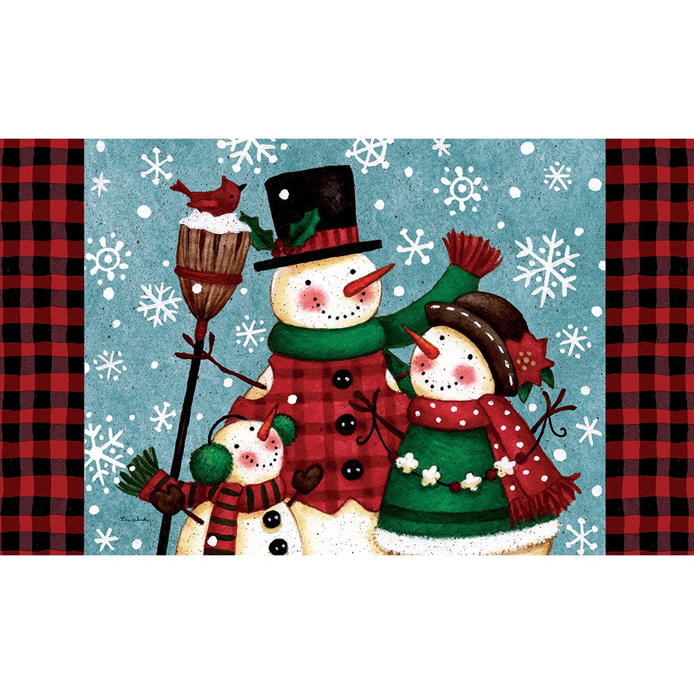 Snow Family Christmas Doormat