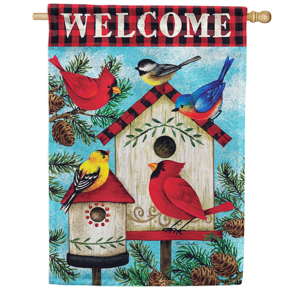 Winter Birds Birdhouse Double Sided House Flag