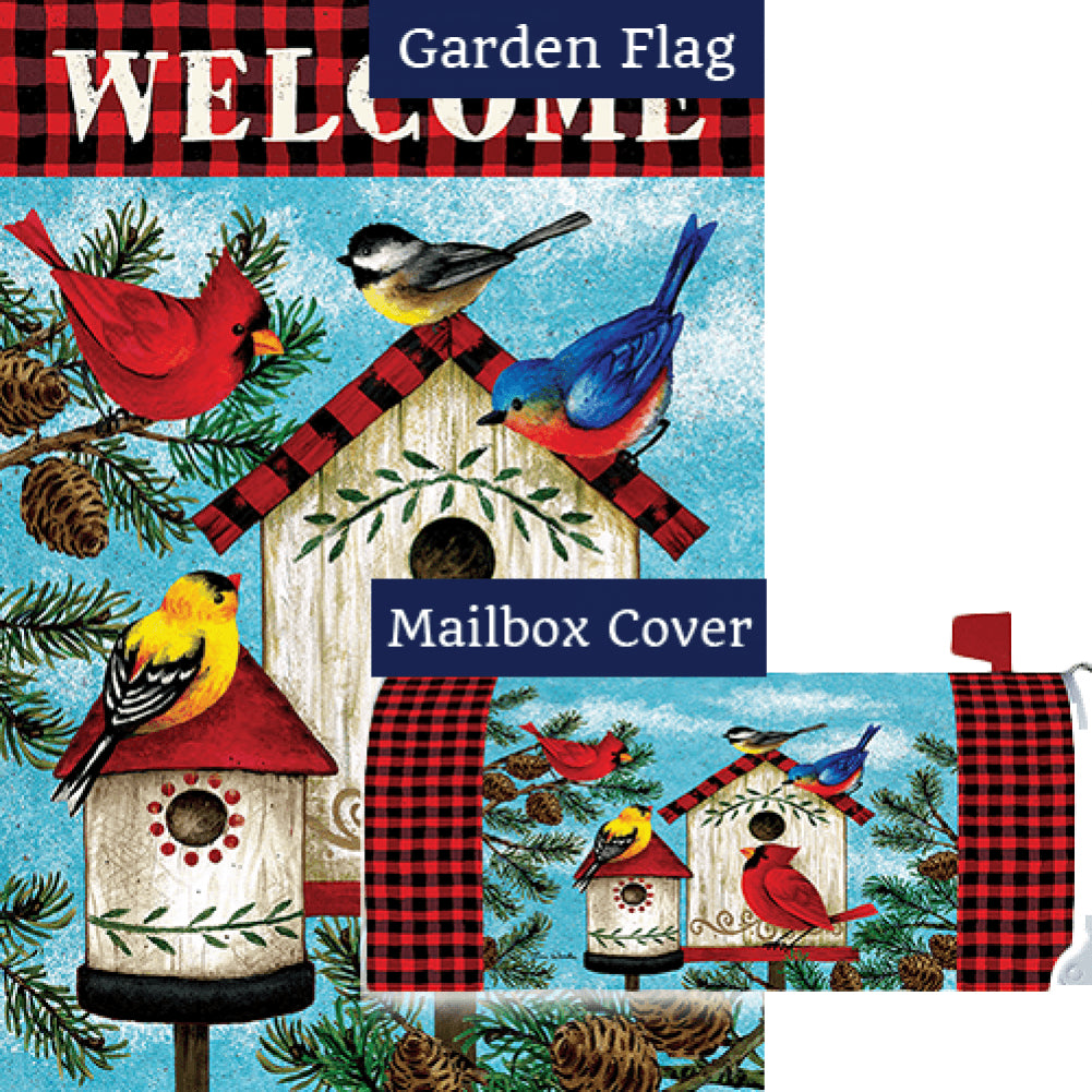 Winter Birds Birdhouse Double Sided Flag Mailwrap Set (2 Pieces)