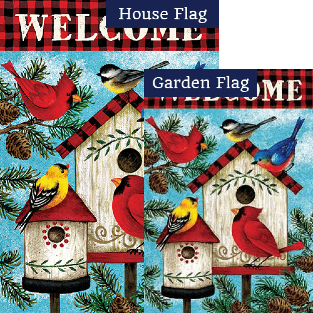 Winter Birds Birdhouse Double Sided Flags Set (2 Pieces)