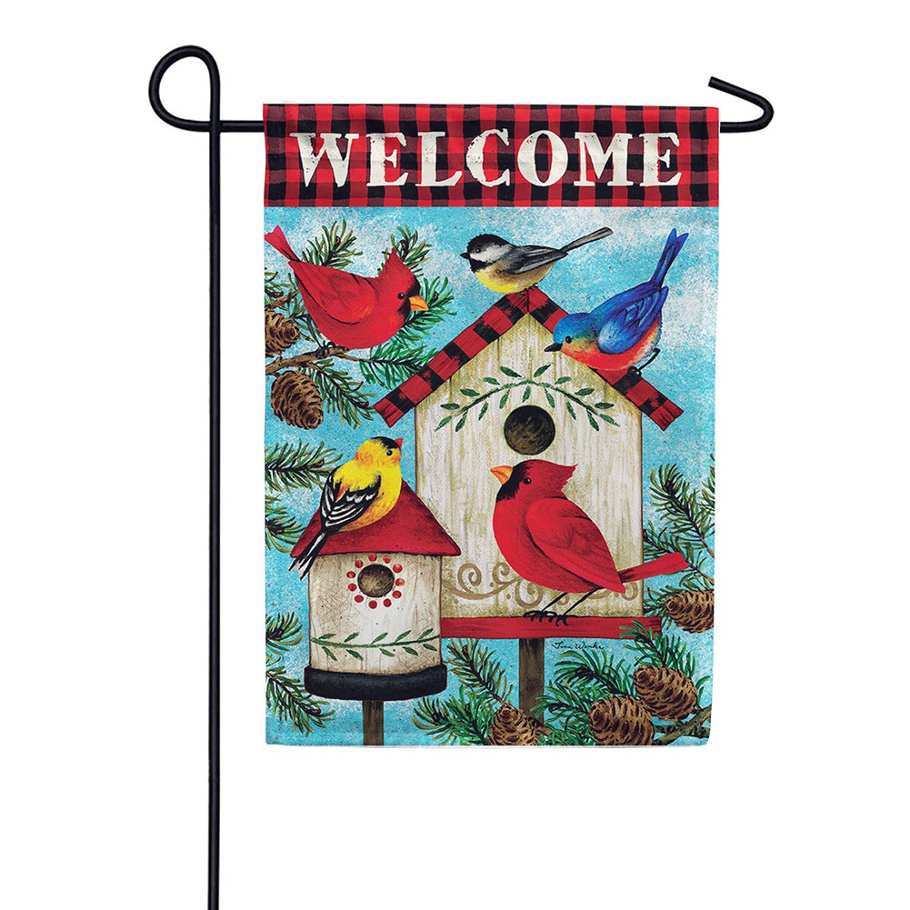 Winter Birds Birdhouse Double Sided Garden Flag