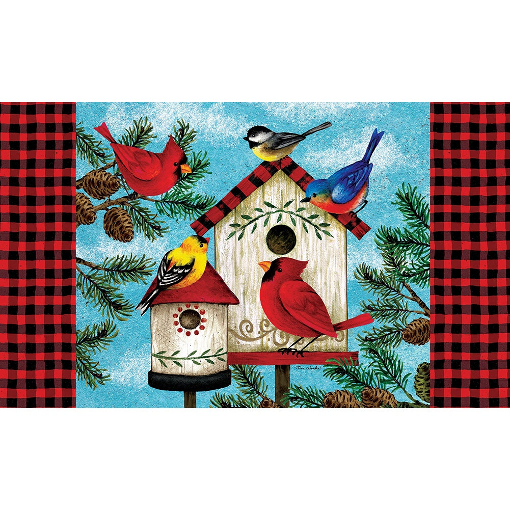 Winter Birds Birdhouse Doormat