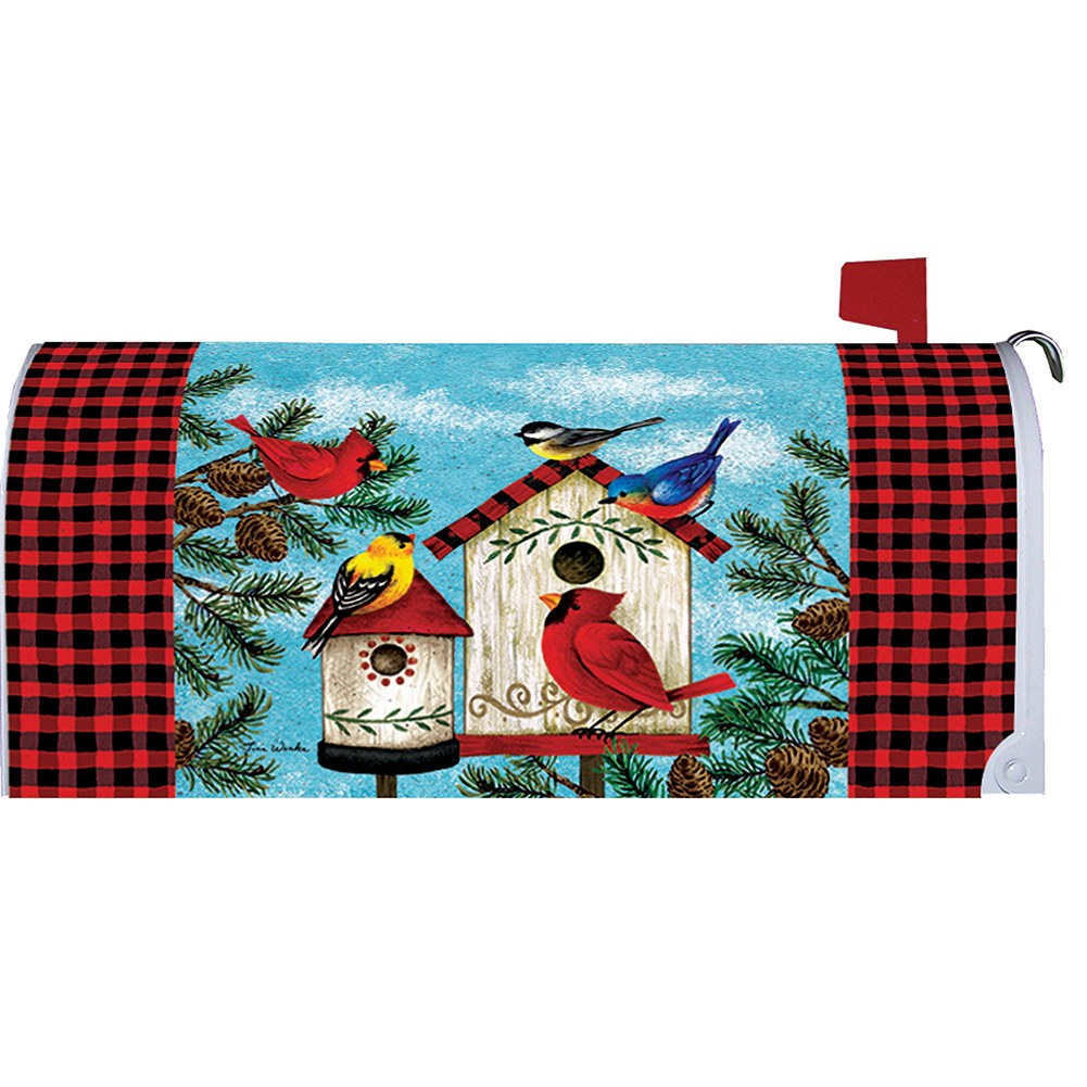 Winter Birds Birdhouse Mailbox Cover