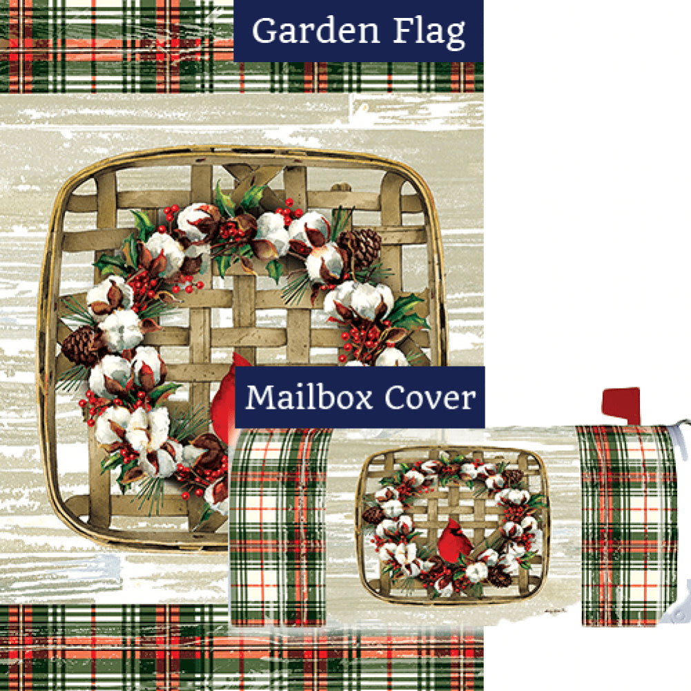 Cardinal Cotton Wreath Flag Mailwrap Set (2 Pieces)