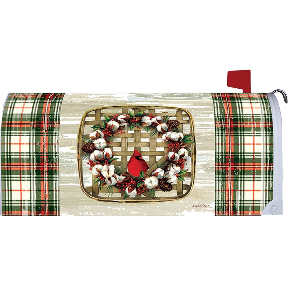 Cardinal Cotton Wreath Mailbox Cover