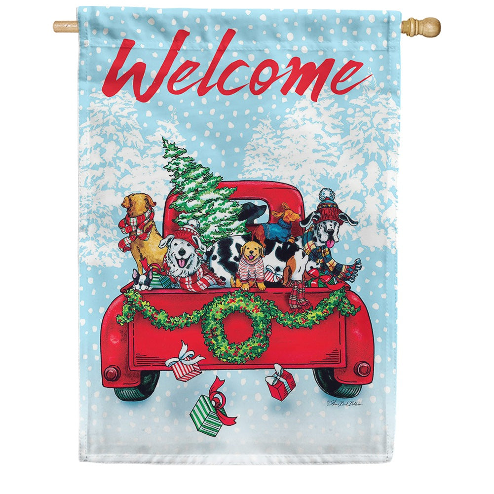 Puppy Truck Double Sided House Flag