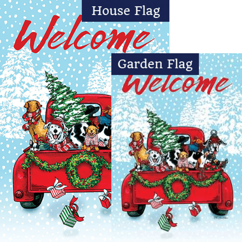 Puppy Truck Double Sided Flags Set (2 Pieces)