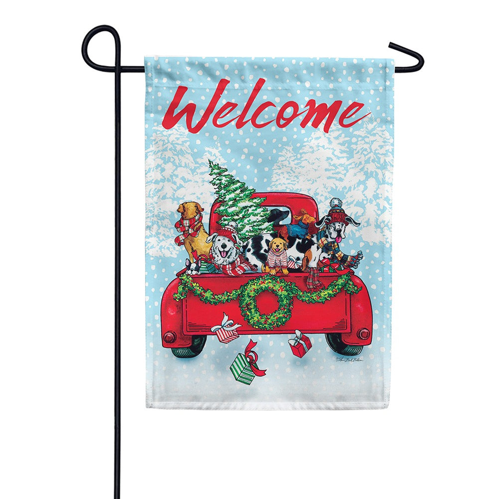 Puppy Truck Double Sided Garden Flag