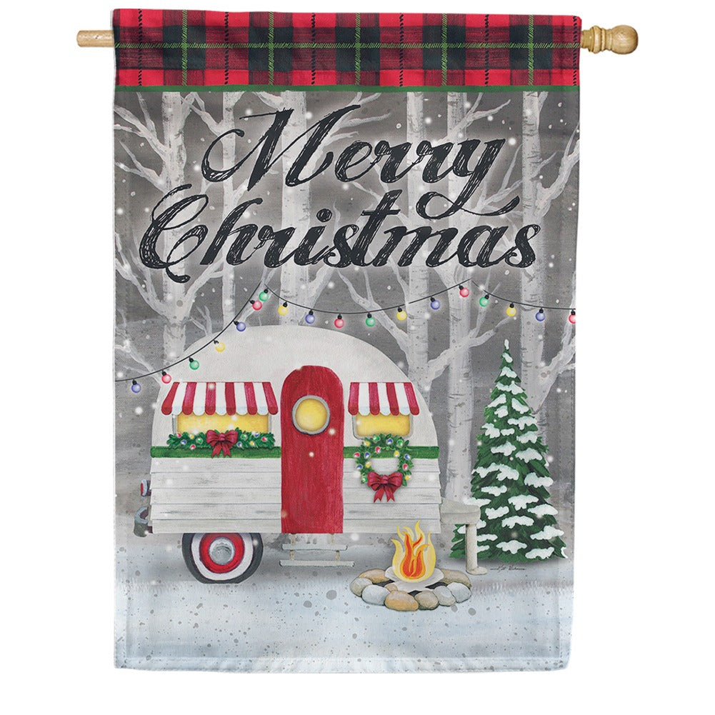 Merry Christmas Camper Double Sided House Flag
